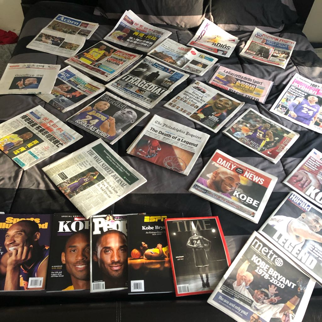 I just wanted to grab the Daily News and The Inquirer the morning after Kobe's tragic helicopter crash cause I knew they would have him on the cover and do a nice tribute, I ended with papers from every major US city & 15 different countries #RipKobe #RipMamba #MambaForeverpic.twitter.com/0riEJ9kPem