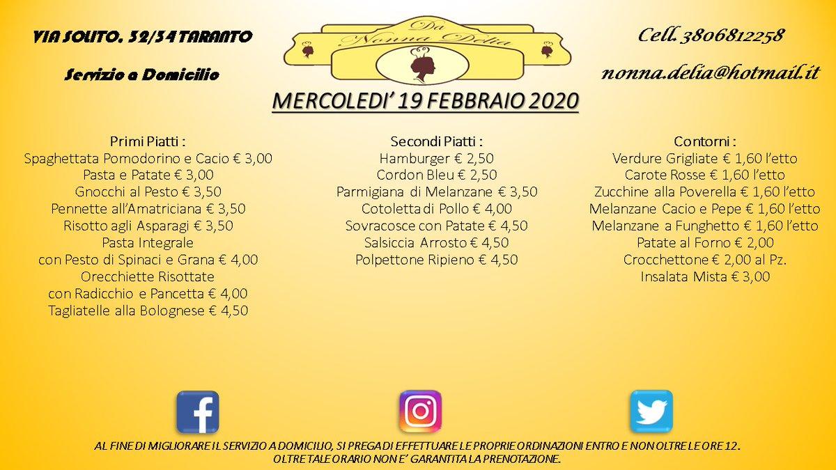"""Menù Mercoledì 19 Febbraio 2020 - Gastronomia """"Da Nonna Delia"""" @da_nonna_delia #danonnadelia #food #foodlovers #seafood #seafoodlovers #pranzo #lunch #taranto #puglia #gastronomia #ristorante #primipiatti #secondipiatti #contorni #tagsforlike #tagsforfollow #like4likes #followpic.twitter.com/Tf0PPGLMLD"""