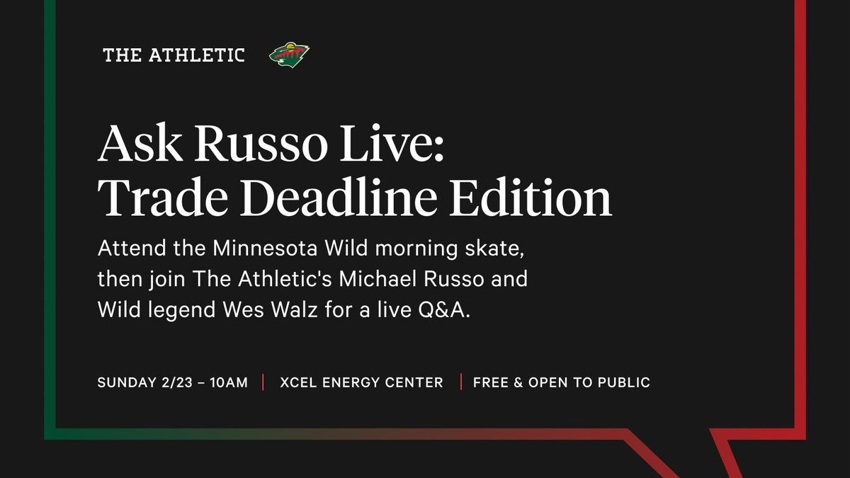 Sunday, Feb. 23   Xcel Energy Center   Wild morning skate   Q&A with @RussoHockey and @walz3737    FREE and open to the public   More info http://wild.com/askrusso pic.twitter.com/ZAwDAkNxNt