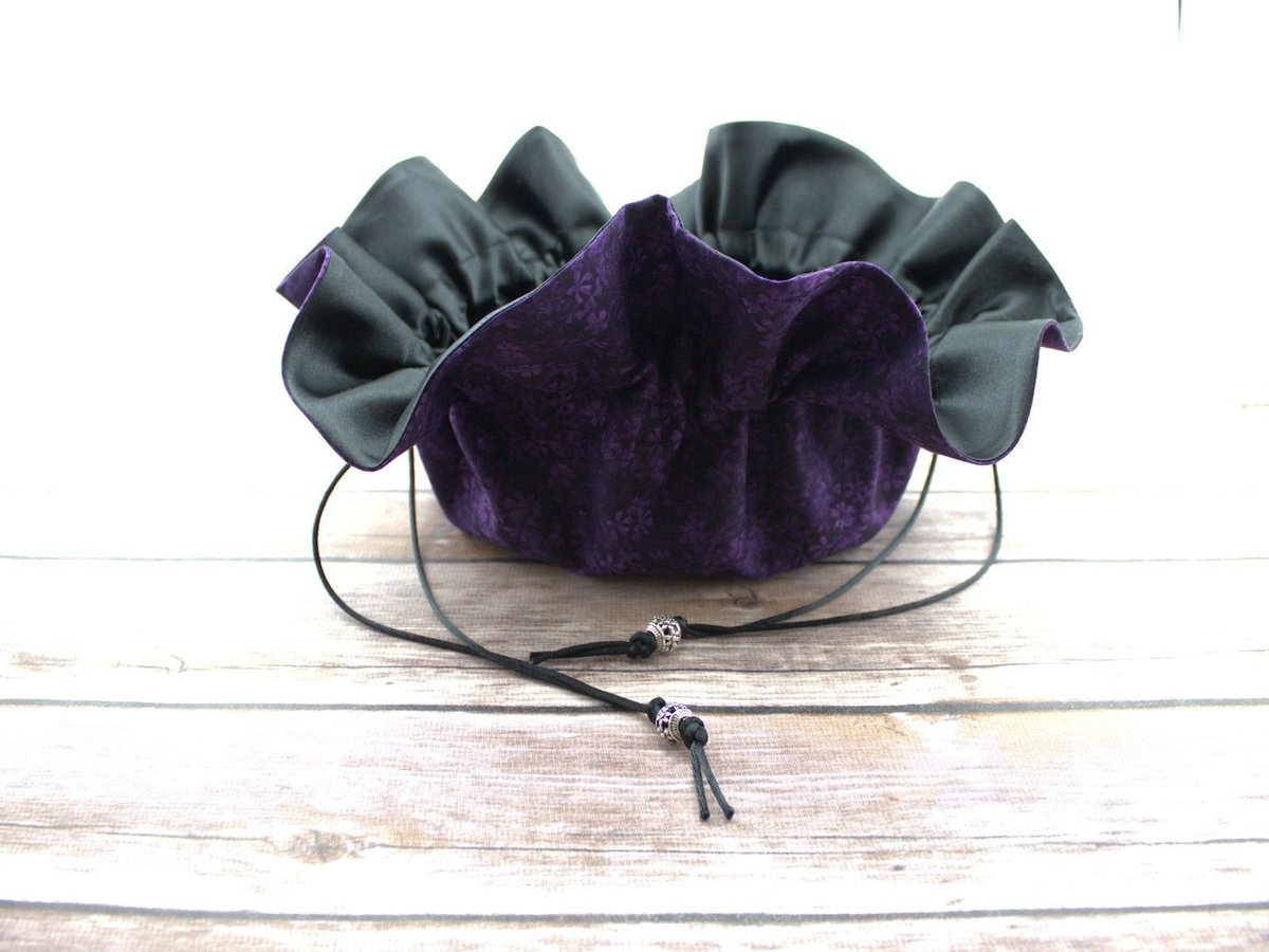 """Thanks for the kind words! ★★★★★ """"Beautiful materials and very well made. Thank you!"""" bftessa  #etsy #bagsandpurses #black #purple #jewelrypouch #essentialoilbag #satindrawstringbag #pickyourcolor #floraljewelrypouch #personalizedbag"""
