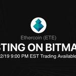 Image for the Tweet beginning: 🎉#BitMart will list #Ethercoin (ETE)