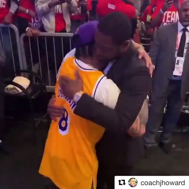 Powerful moment between A.I. and D-Wade after the Kobe tribute in Chicago. Wow.  (via coachjhoward/IG)