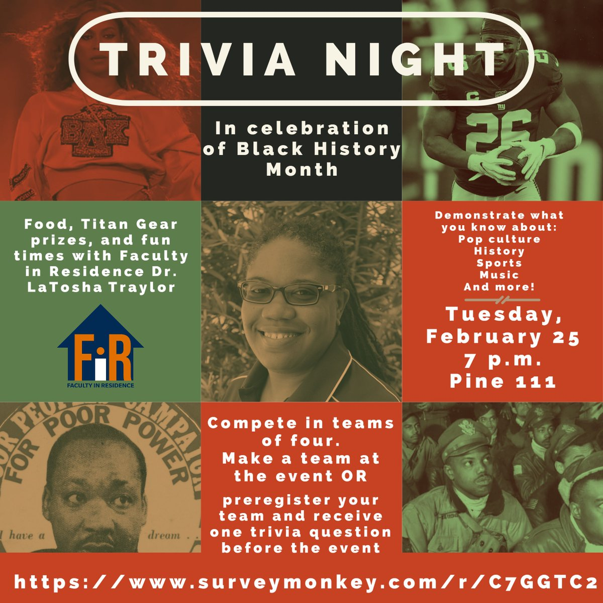 Next week is TRIVIA NIGHT with Faculty in Residence Dr. LaTosha Traylor! Come join us to celebrate Black History Month.  Create your team of four when you get to the event OR preregister your team to get one trivia question ahead of time at http://bit.ly/2uKheuL  pic.twitter.com/5gaW0J26NN