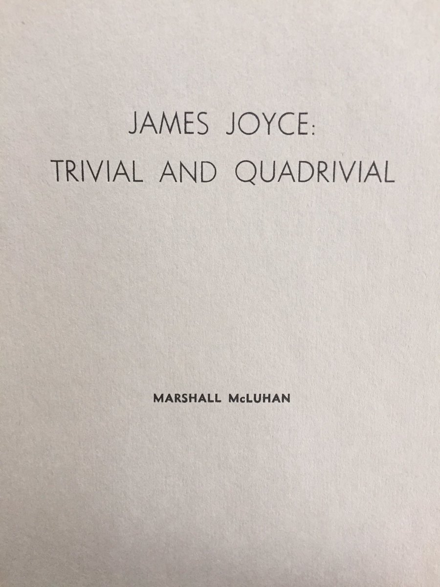 """All actual and potential scientific theories are implicit in the verbal structure of the culture associated with them.""  Marshall McLuhan 'James Joyce: Trivial and Quadrivial' 1953 pic.twitter.com/89pkPMseKM"