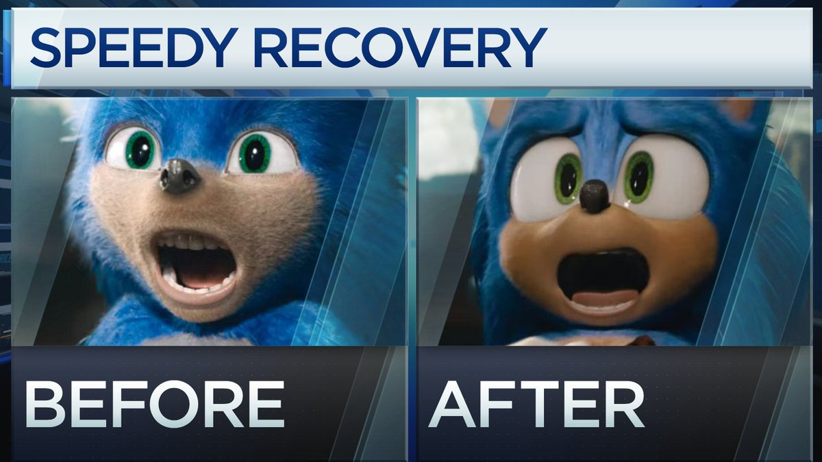 Power Lunch On Twitter Look At Those Teeth Sonic The Hedgehog Speeding Into A Record Setting Opening Weekend But Only After They Completely Redesigned Sonic Hedgehog Check Out The Before And After Sonicmovie Https T Co K6tprghdup