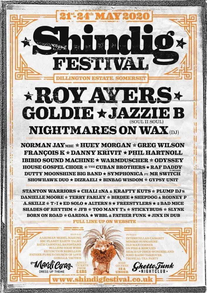 @shindigfestival 2020 combines old-skool legends with rising stars - an awesome lineup with headline acts Roy Ayers, Goldie & Jazzie B!  Check out the full lineup & find your tickets at http://shindigfestival.co.uk 👈🏿  #jazzieb #shindig #somerset #oldskool #risingstars