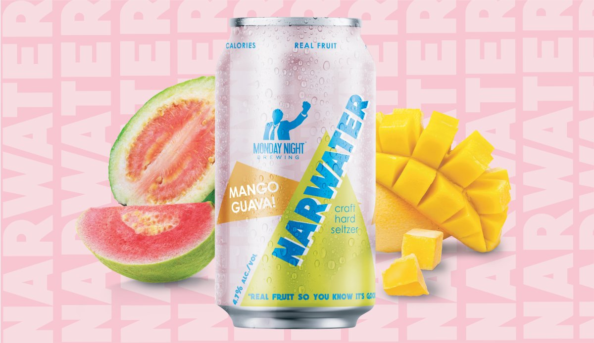 Narwater—our craft hard seltzer—is made with real fruit, 95 calories and only 4.7% ABV. Find it in 12pk Party Packs starting next week. Meet Mango Guava, the most tropical of flavors! #hardseltzerpic.twitter.com/sCJVn6RkNs