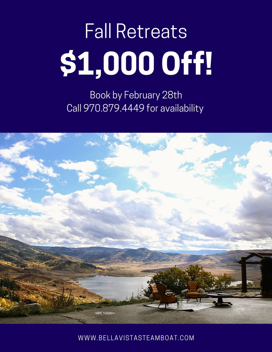 https://www.destinationcolorado.com/deals/steamboat-bella-vista-estate/ … Take $1,000 off your next board #meeting, #incentiveretreat, meeting or event at Bella Vista Estate! #corporateretreat #boardmeeting #grouplodging #destinationcolorado #visitsteamboat #visitcolorado #familyreunion #skitrip #familyvacation #familyfunpic.twitter.com/pczCiC1ngM