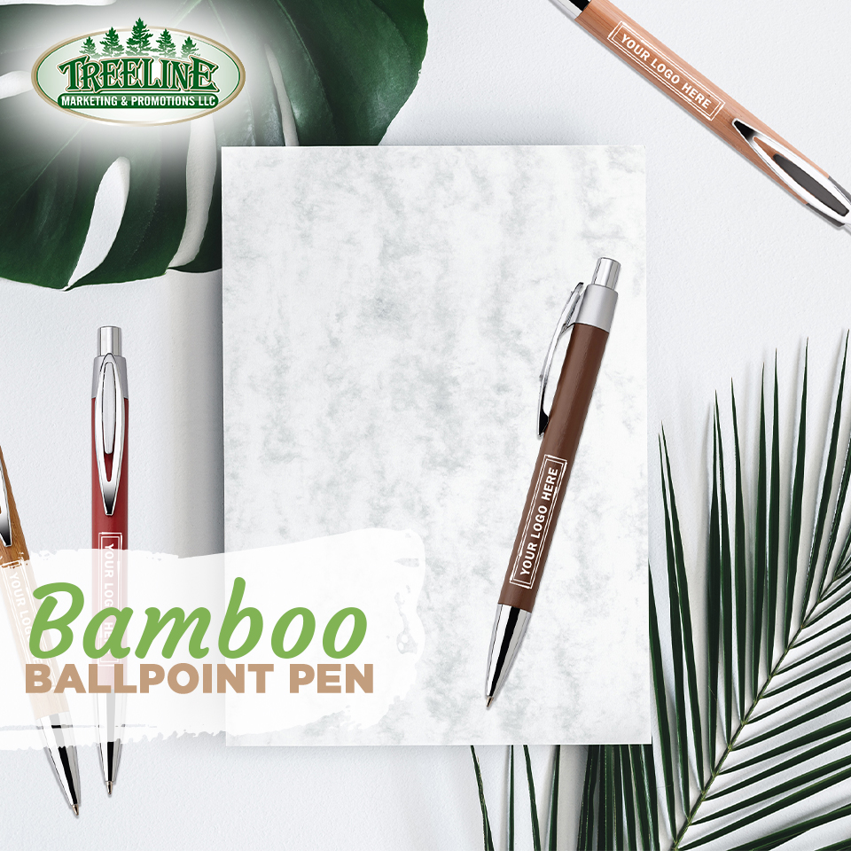 In search of a more #sustainable pen option? This ballpoint is made with bamboo and has a 45% biodegradable trim. 🖊️♻️  Shop now at  !  #TreelineMarketing #promo #swag  #recycledmaterials #ecofriendly #bamboo #sustainability