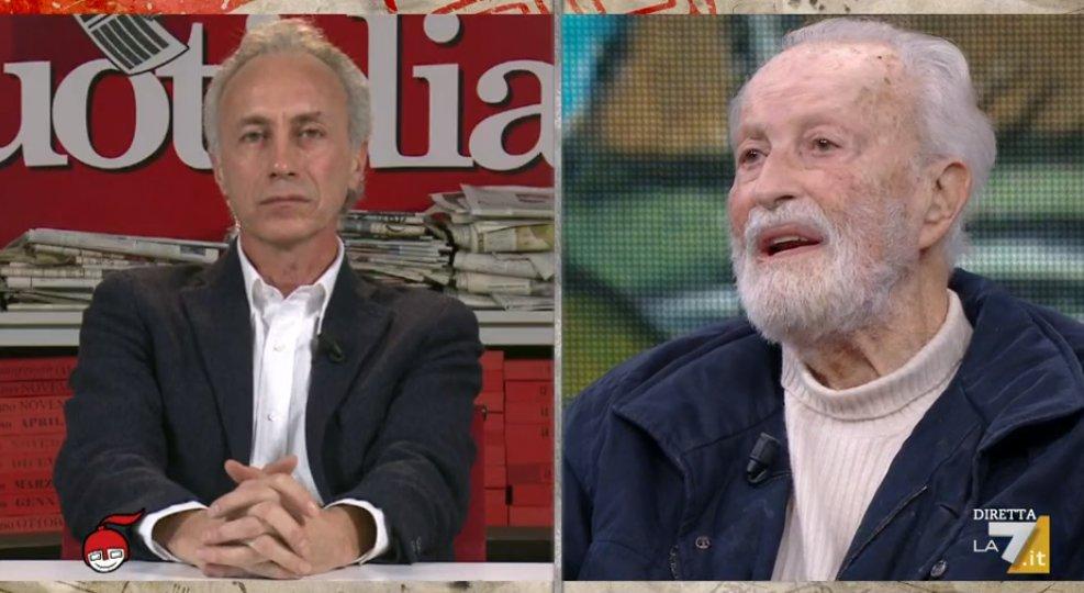 A #DiMartedi l'odio contro Salvini unisce persino Calandrino (Travaglio) e la vecchia mummia Scalfari che addirittura si è permesso di dire che in questo momento gli italiani non vogliono votare. Insomma ha deciso LUI che gli italiani non vogliono votare. E Floris ride. Pazzesco.