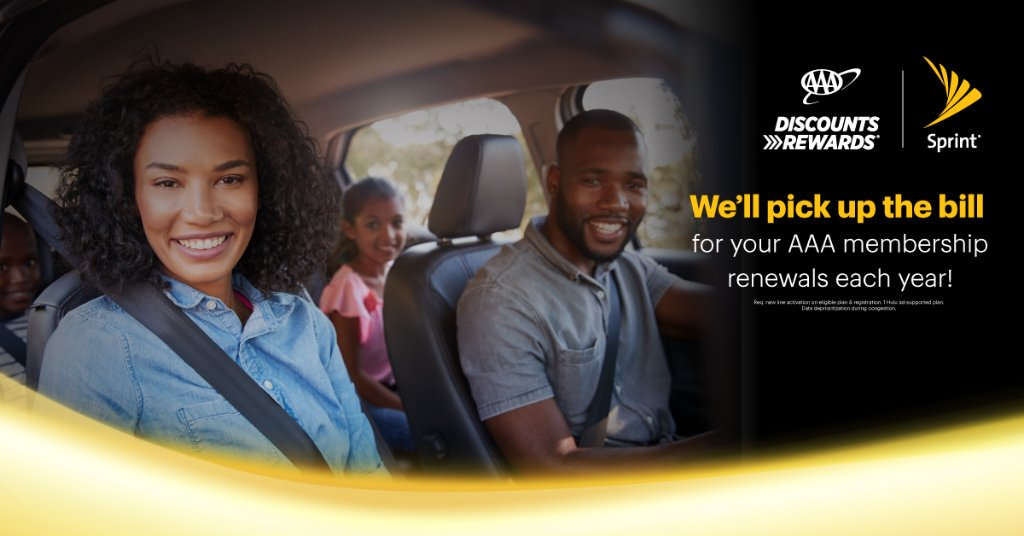 Now with Sprint Perks, AAA members get more. Sprint will pick up the bill for your AAA membership renewals each year when you use your #AAADiscounts! Switch to Sprint and get great features like Hulu and Tidal with Unlimited Plus.