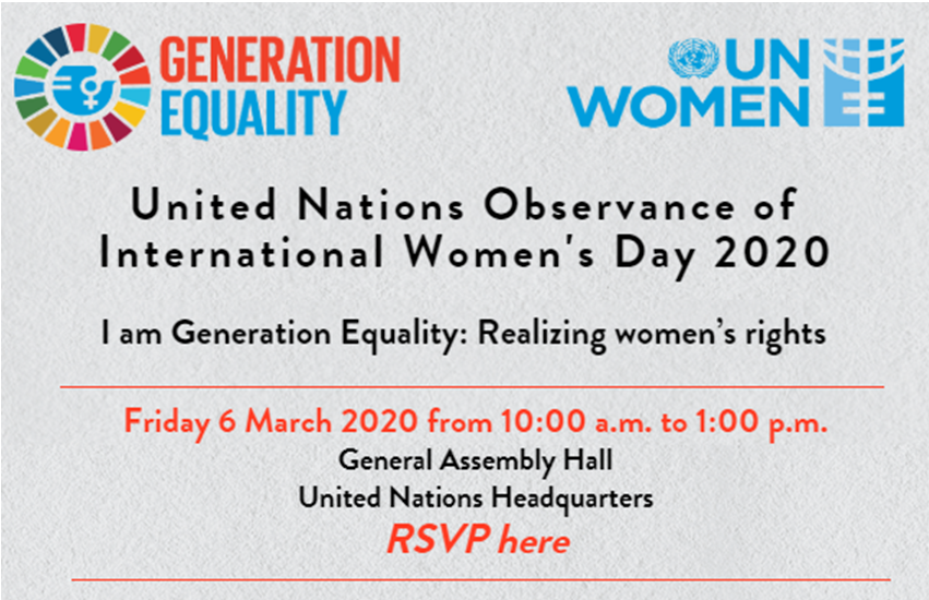 You are invited to the @UN International #WomensDay celebration on 6 Mar in NYC!   To show solidarity for #genderequality & women's rights, we encourage attendees to wear blue  and/or red  attire! RSVP here: http://ow.ly/6DkK50ypBdn  cc: @UN_Women #IWD2020pic.twitter.com/ugPl7ez2LG