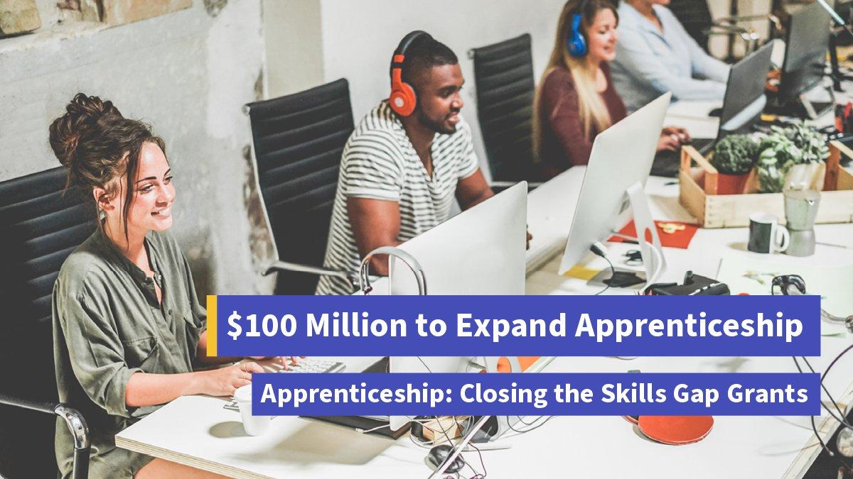 The .@USDOL announced $100 million in grants for apprenticeship to close the skills gap: dol.gov/newsroom/relea…