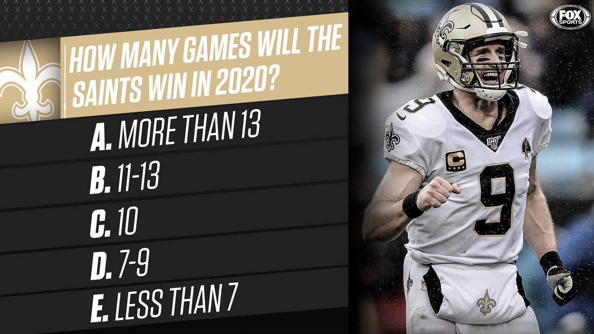Drew Brees will be back at QB for the @Saints next season.How many games will New Orleans win in 2020?