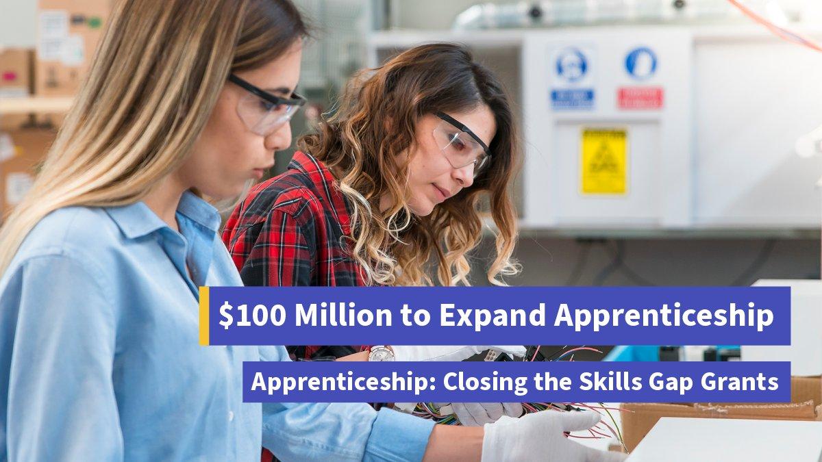 .@USDOL announces $100 million in grants for apprenticeship to close the skills gap: dol.gov/newsroom/relea…