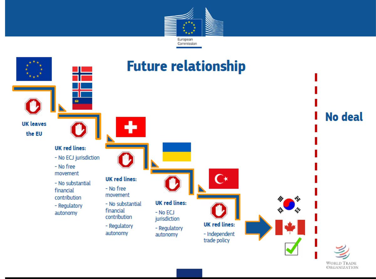 In 2017 the EU showed on their own slide that a Canada type FTA was the only available relationship for the UK. Now they say it's not on offer after all. @MichelBarnier what's changed?