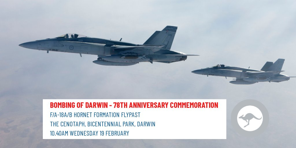 Today we will flypast the 78th Anniversary of the #BombingofDarwin commemoration. It was the largest single attack by a foreign force on Australia - killing 100s & injuring many. #LestWeForget 🔍 bit.ly/AFFlyingActivi… #AusAirForce