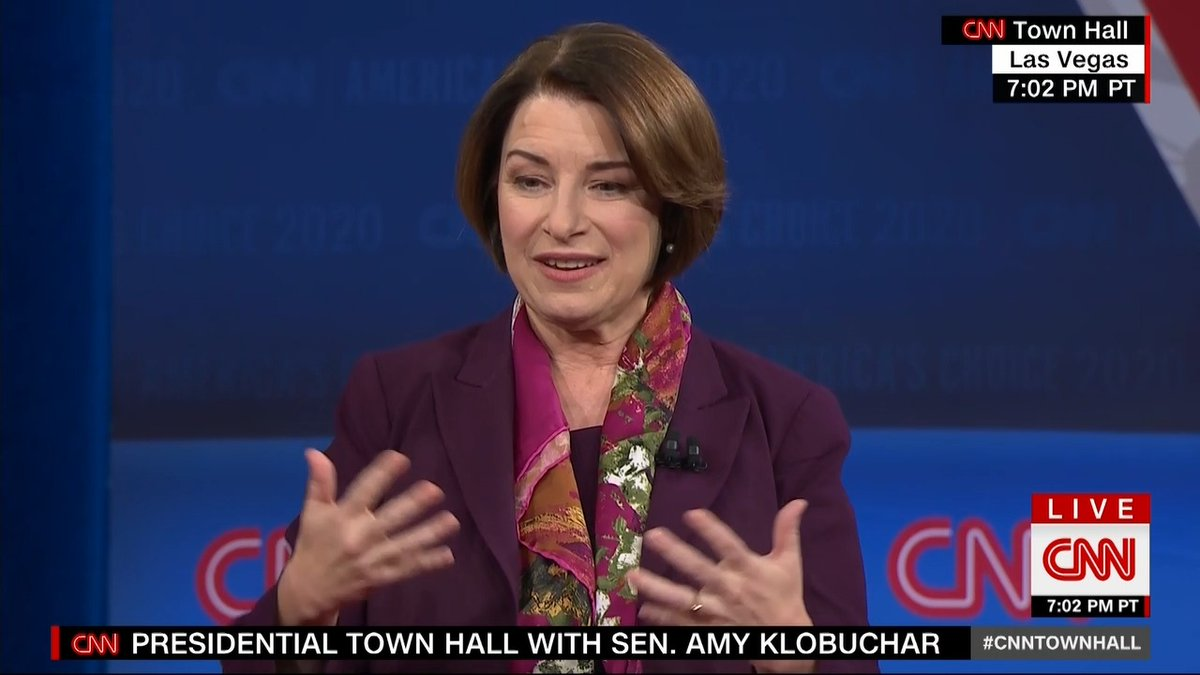"""I actually thought he should be on the debate stage, because I don't think you should just be able to buy your way to the presidency.""  - Sen. Amy Klobuchar on Michael Bloomberg qualifying for the Democratic presidential debate in Las Vegas. #CNNTownHall https://cnn.it/2P6uTDv"