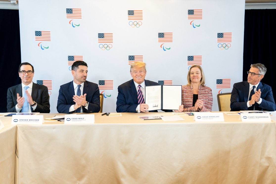 President @realDonaldTrump just met with leaders of the Los Angeles 2028 Olympic Committee. For the third time in history, LA will again raise the torch and welcome the world's greatest competitors to the summer games!