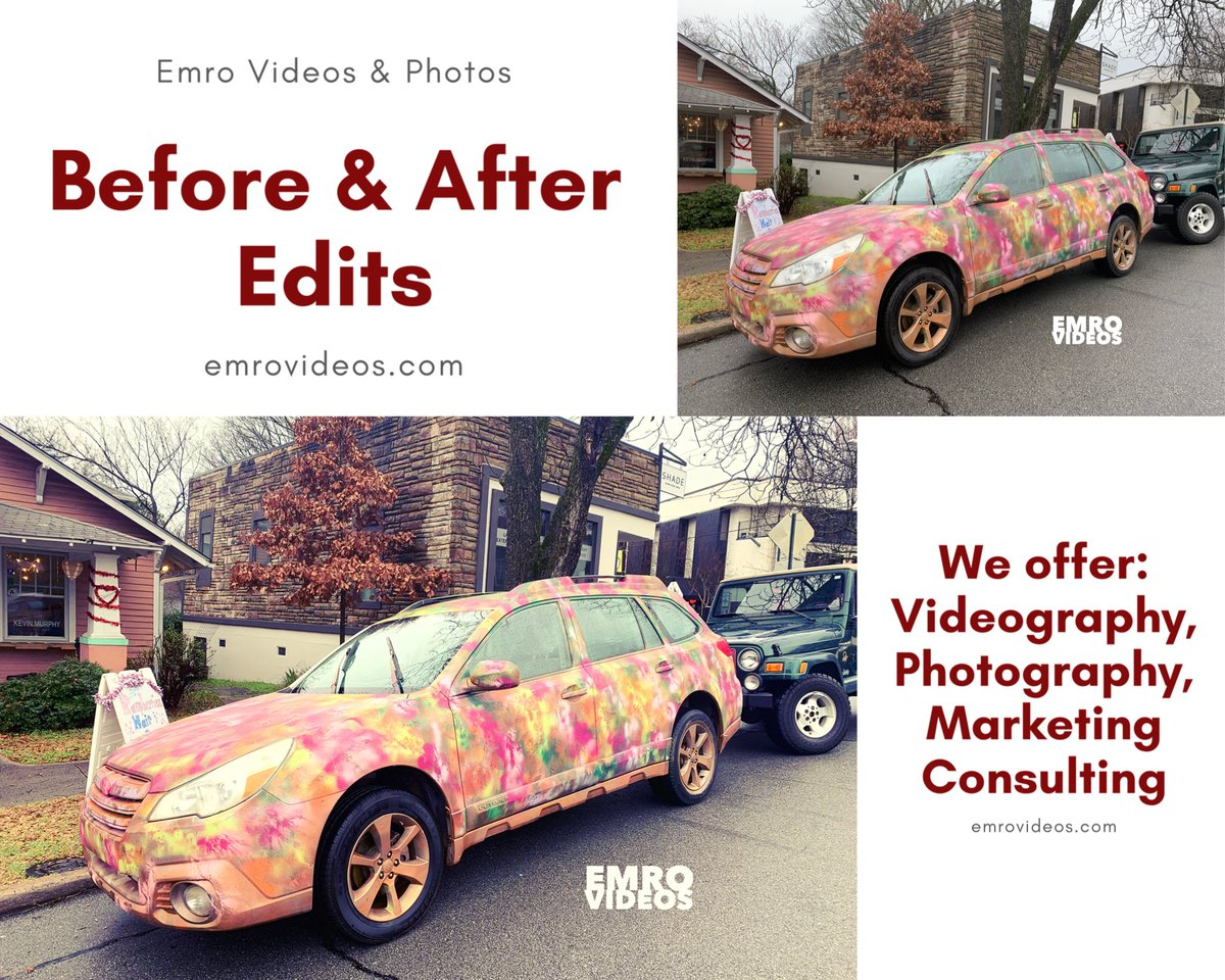 Look at our Before & After Edits!!! Isn't this fun?? I found this car in Little Rock, AR today!! I had to take a picture!! Book us http://emrovideos.com . #photographer  #littlerock #filmmaker #filmmaking #videographer #commercial #arkansasvideographer #arkansas #car #cars #okpic.twitter.com/kbkttJUsz1