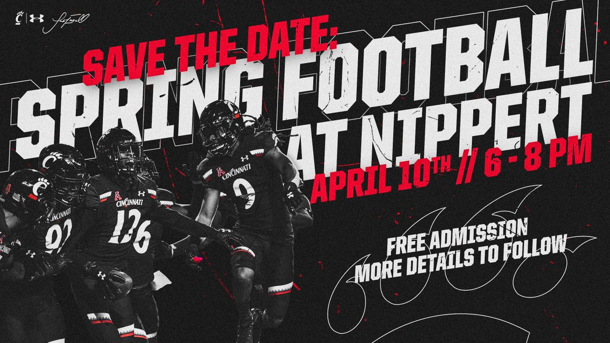 𝙎𝘼𝙑𝙀 𝙏𝙃𝙀 𝘿𝘼𝙏𝙀!  Why wait 198 more days until kickoff when you could see the #Bearcats in action again this spring?!  📍 Nippert Stadium 📅 Friday, April 10th ⏰ 6-8pm