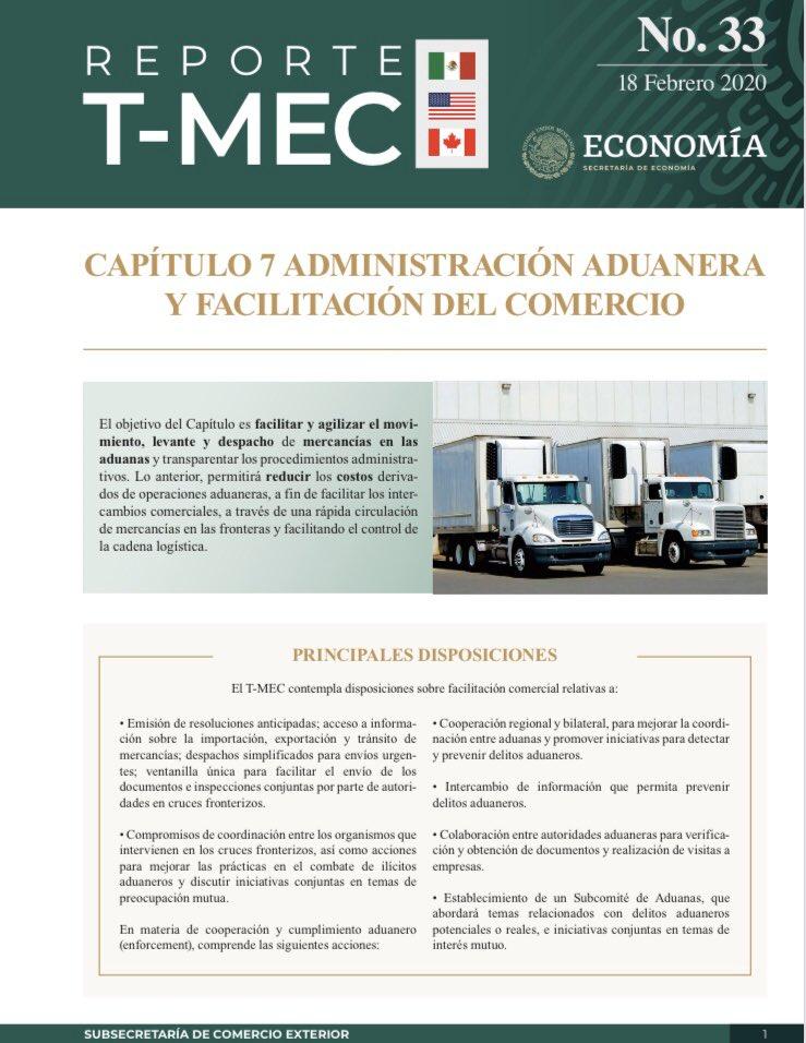 El T-MEC contempla disposiciones sobre facilitación comercial, lo que permitirá reducir costos derivados de operaciones aduaneras. Conócelas en la edición No. 33 de #ReporteTMEC   Consulta y descarga aquí: http://bit.ly/ReporteTMEC1 🇲🇽🇺🇸🇨🇦 #TMEC #USMCA