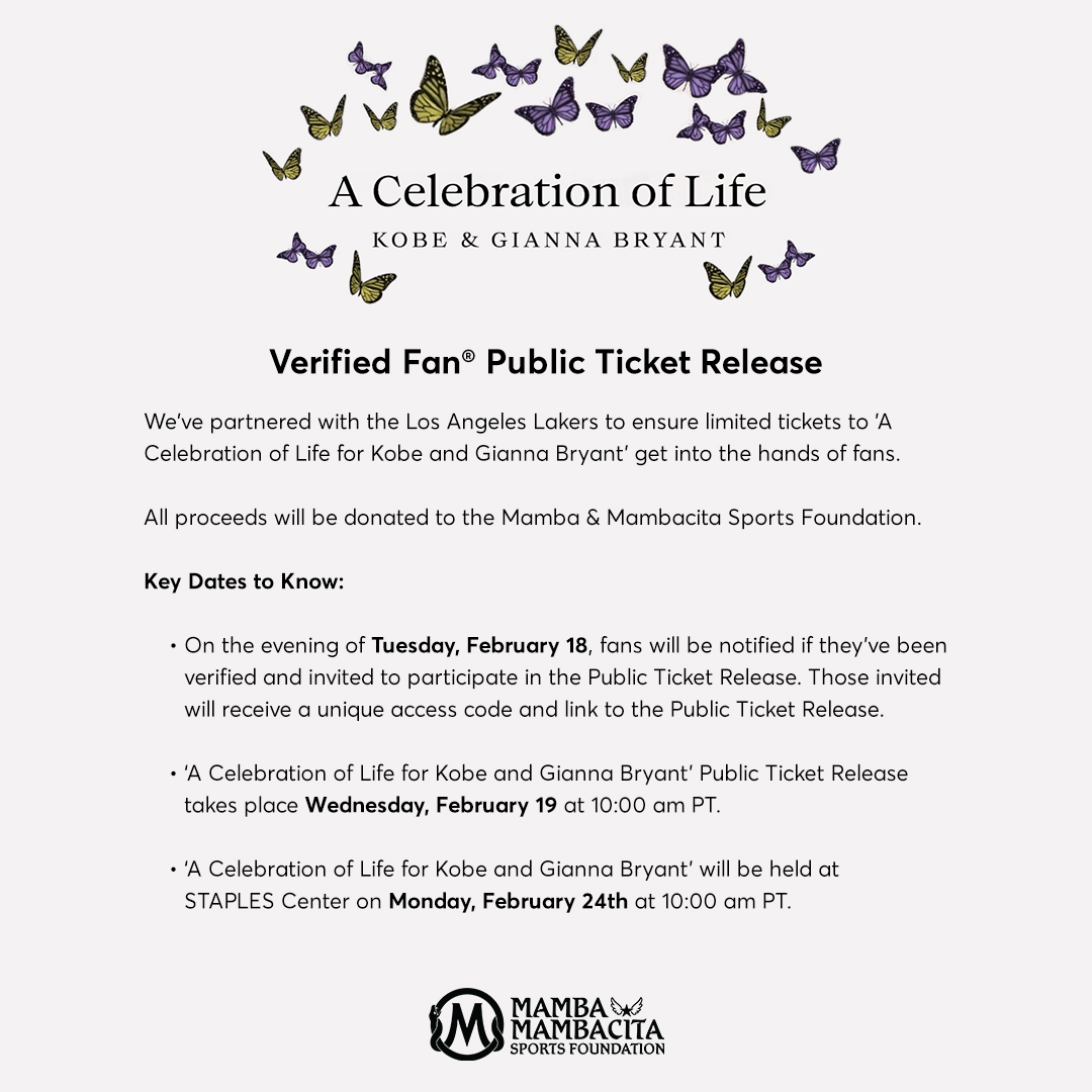 BUYER BEWARE: Know all restrictions before buying event #tickets. When demand for tickets grows, so does fraud. Please note that all tickets for next week's Celebration of Life for #Kobe and Gianna Bryant are NONTRANSFERABLE. Do not buy tickets from a third party or a stranger.