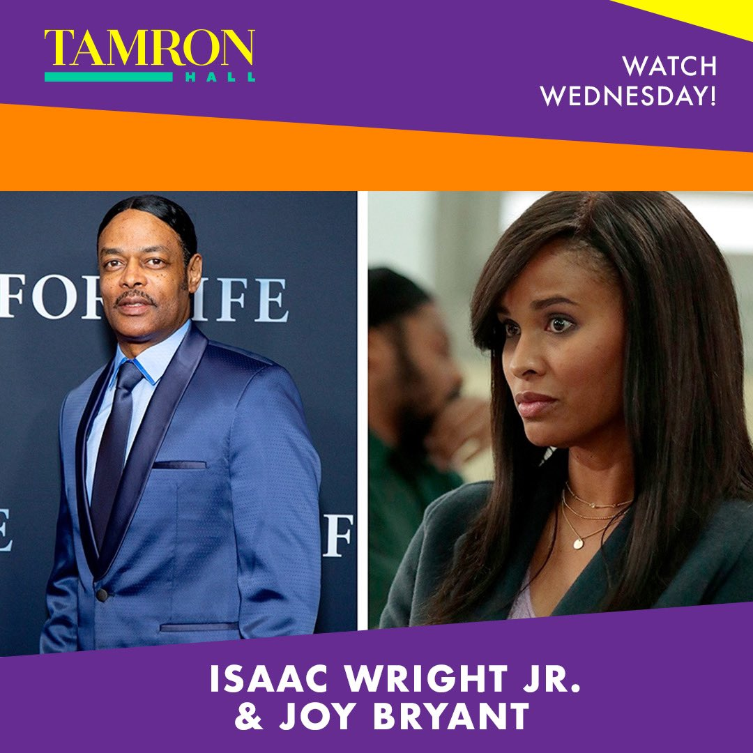 "This Wednesday on ""Tamron Hall,"" ""For Life"" star, @realjoybryant. Plus, meet the real-life inspiration for the series: @IsaacWrightJr. And, @MichaelGRubin talks the freeing of Meek Mill and criminal justice reform."