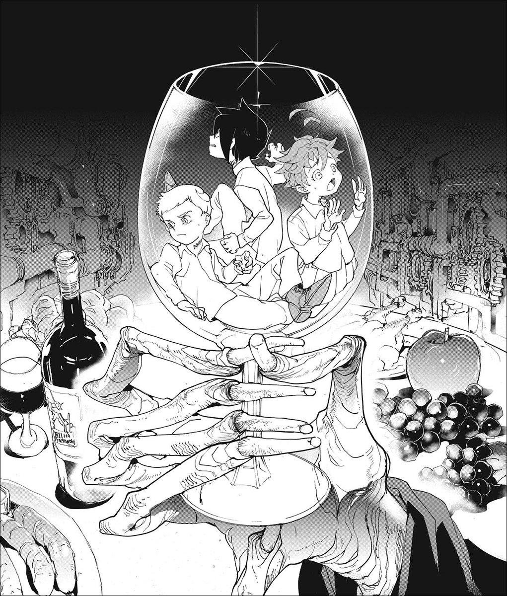 "Shonen Jump on Twitter: ""Is wine the official drink of villains? Kinda  seems that way. Doesn't get much more villainous than a glass full of  hapless children. #NationalDrinkWineDay #ThePromisedNeverland…  https://t.co/aySqUEc7jd"""
