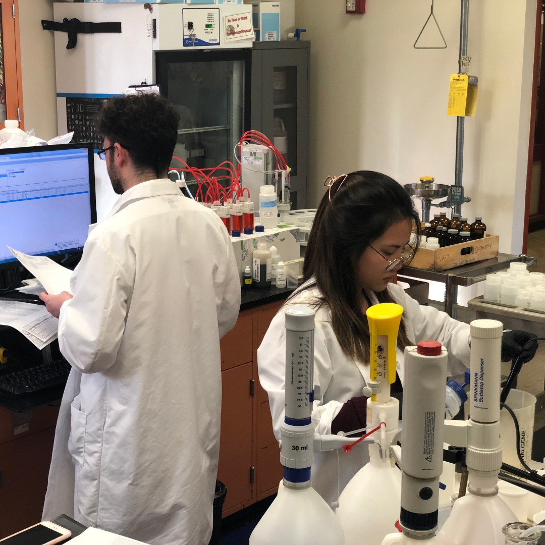 San Francisco Public Utility Commission analytical lab staff members analyze water chemistry.