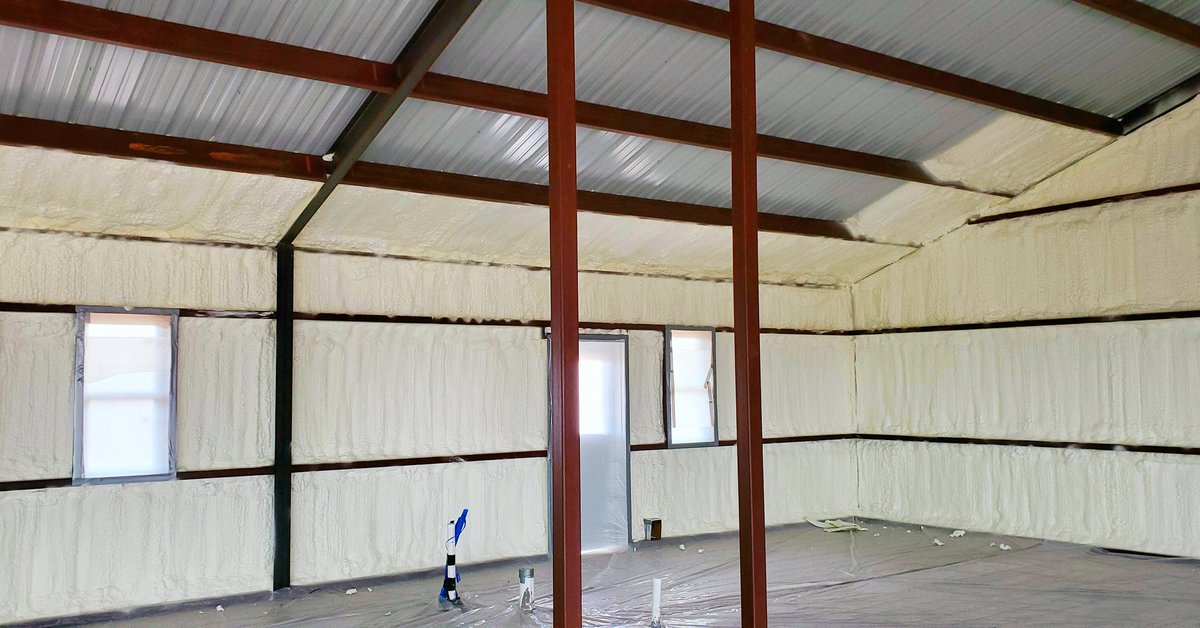 Open cell foam going in this barndominium in Coke County.  #sprayfoam #insulation #sprayfoaminsulation #metalbuilding #steelbuilding #barn #shop #barndominium #barndo #barndominiumliving #metalhome #metalhouse #customhome #construction #farm #ranch #oil #gas #Texas #WestTexas