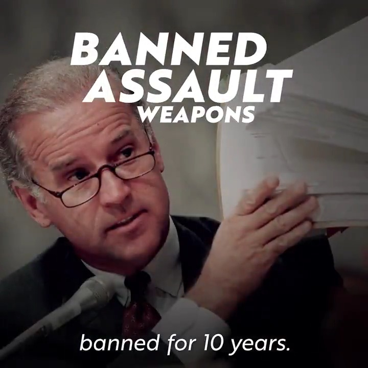 Let's be clear: Weapons of war have no place in our communities.  That's why I took on the @NRA and passed a 10-year ban on assault weapons and high-capacity magazines — and I'll do it again as president.