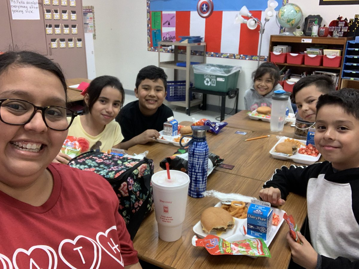On Valentine's Day, I got to eat with 5 of my 3rd graders for achieving their goals on their math CBA. #risingstars #rowlettwood #GarlandUSA #lunchbunch – at Rowlett Elementary