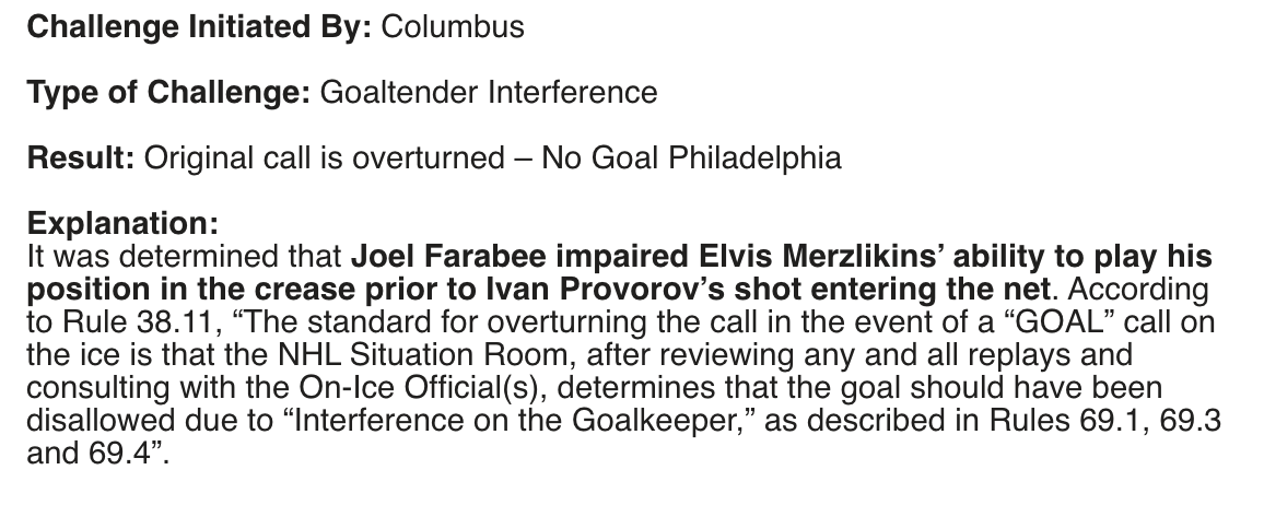 NHL ruling on Flyers over-turned goal in first period