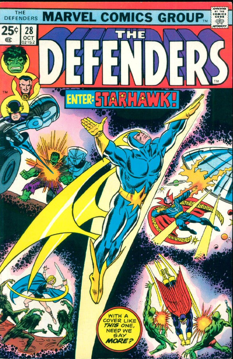 The Defenders #28 (Oct '75) cover by Ron Wilson & Frank Giacoia.   #Starhawk #Hulk #DoctorStrange #Valkyrie #Nighthawk #Badoonpic.twitter.com/QW6jGm5BEg