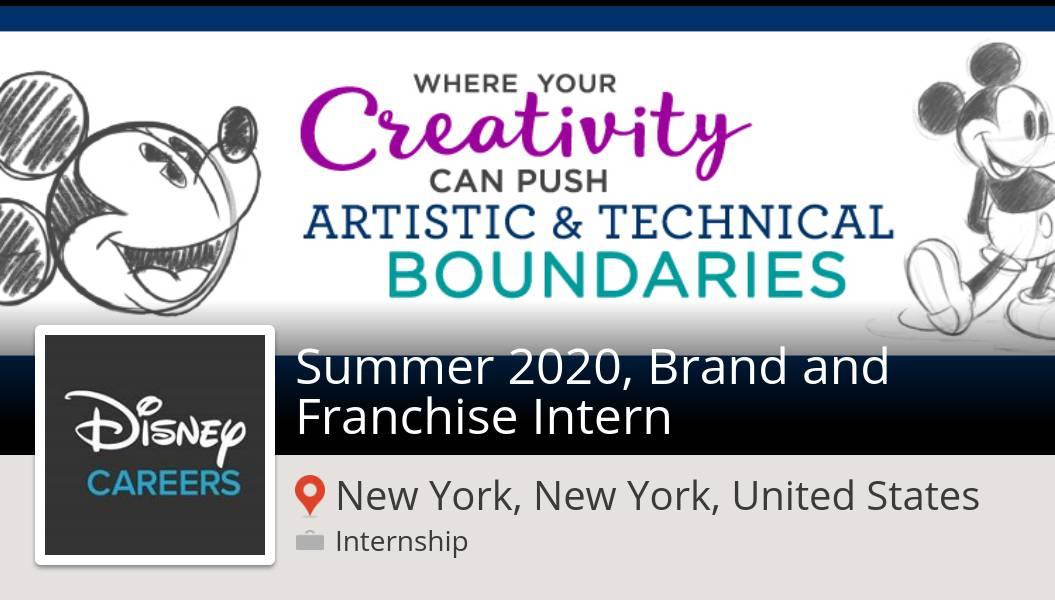 New #internship opening at #Disney in #NewYork! #Summer 2020, Brand and Franchise #Intern  #DisneyJobs