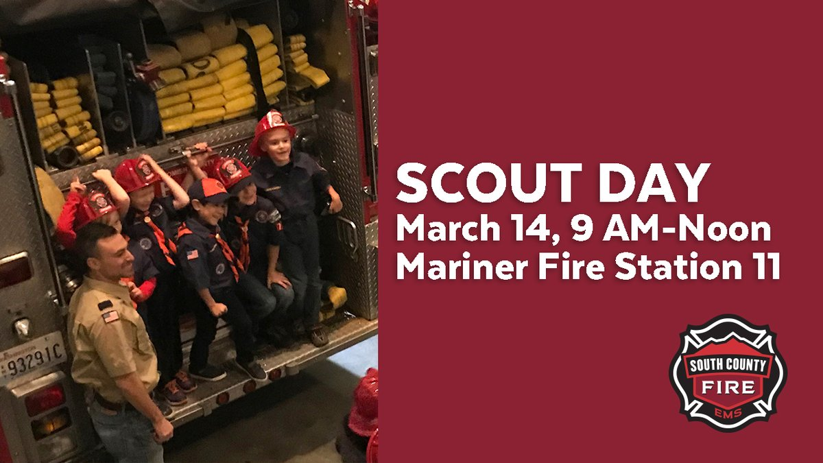 Please join us for Scout Day on March 14, 9 AM-noon, Mariner Fire Station 11, 12310 Meridian Ave. S., Everett. Open house feature activities to meet scout badge requirements. Learn more and register your group for this free event http://www.southsnofire.org/scoutdaypic.twitter.com/YTPM21teGH