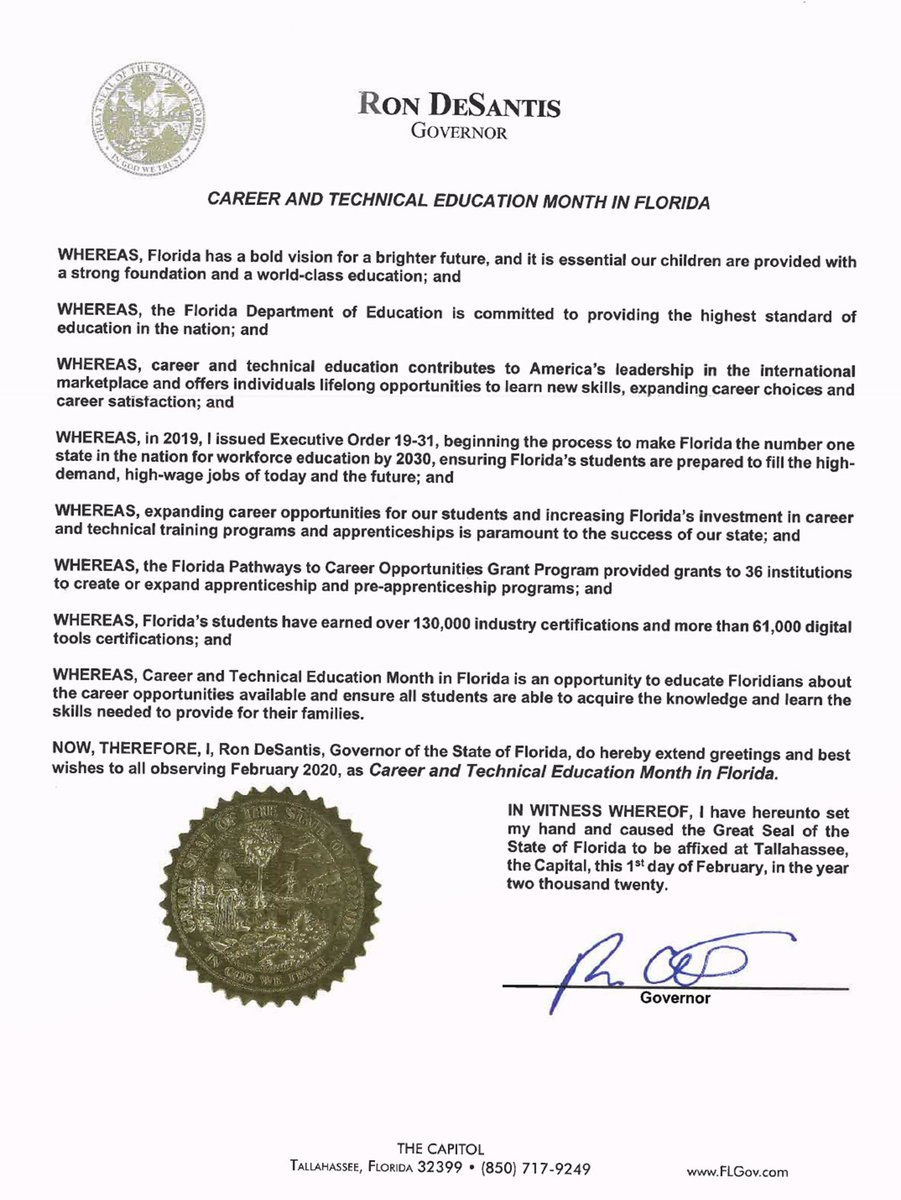 Thank you @GovRonDeSantis for continuing to highlight the importance of #Apprenticeships and Workforce Education.  #EarnWhileYouLearnpic.twitter.com/mdummOTYWf