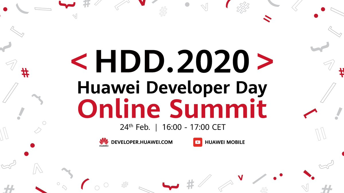 Upcoming - February's Huawei Developer Day.  Our livestream of the Online Summit will begin at 4:00 pm CET on February 24th, please join us for the broadcast, panel discussion and Q&A! #HDD2020 #HMS #5G #technology #innovation   #huawei #HuaweiDeveloper #developerspic.twitter.com/wvwh8o9l1T