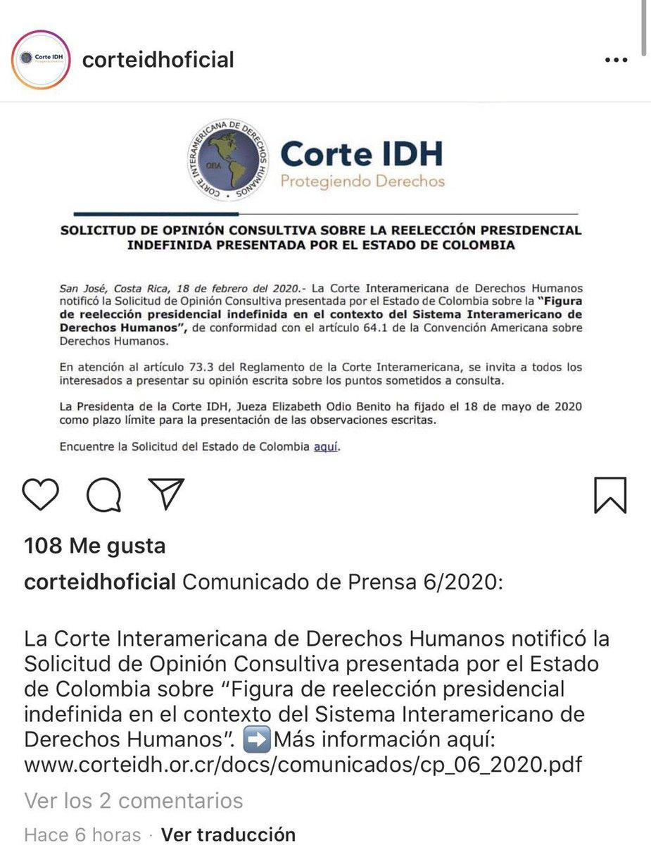 """¿Que pretende el gobierno Colombiano con esta solicitud a la Corte Interamericana de Derechos Humanos @CorteIDH?¿Plantean acaso un debate de derechos humanos con aspiraciones de imponer la reelección indefinida de """"algún gran colombiano""""?#NoMásDeLoMismo!"""