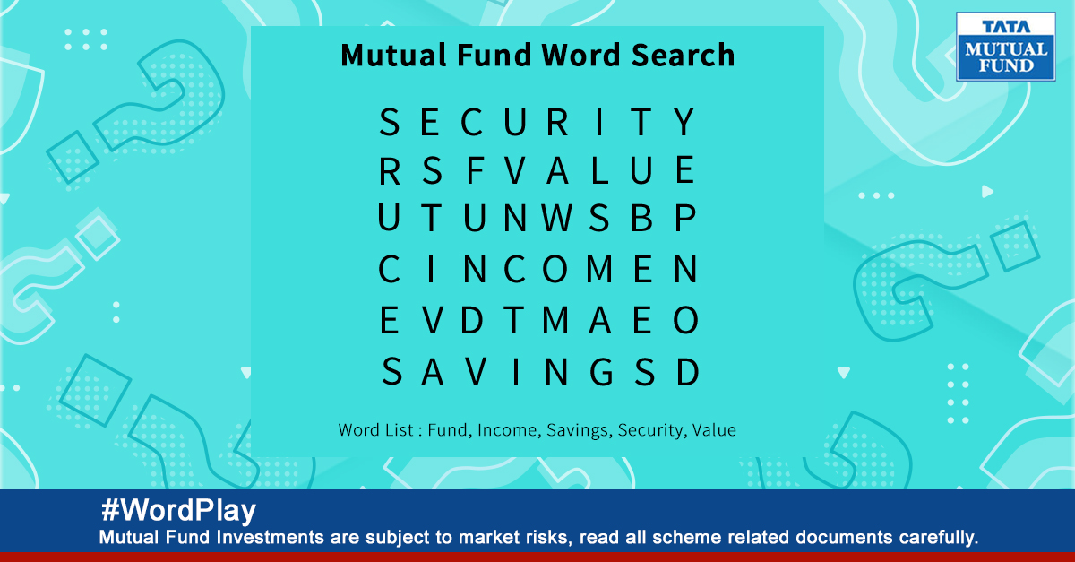 Can you find all the hidden words in the word search puzzle? Answer in comments to win exciting Tata Mutual Fund goodies. #ContestAlert #WordPlay Read the terms and conditions here: http://bit.ly/2zjv2Le