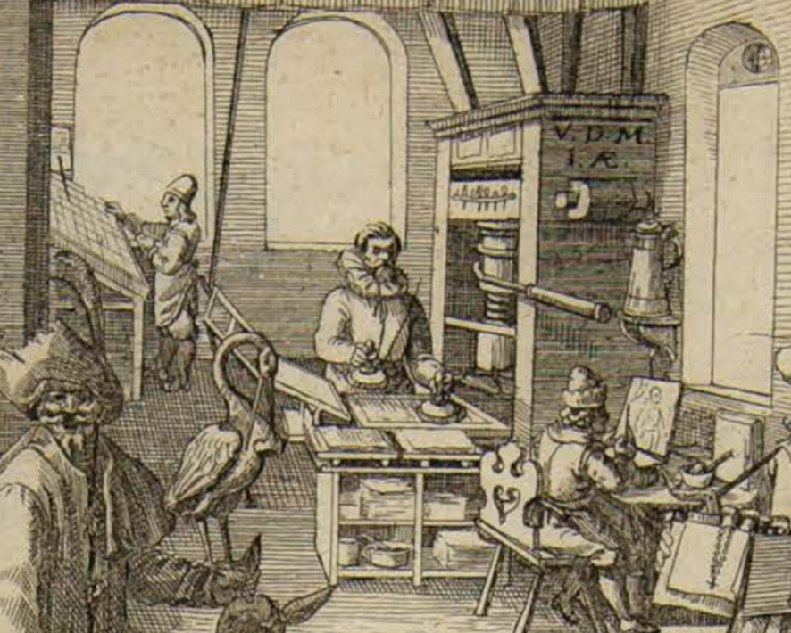 In the upper right part of the image a printing shop is imagined: type case and letterpress are being used, and someone is preparing (engraving?) an image. Blank paper sheets are present almost everywhere, waiting to used. The periodical news in printed form started in 1605. pic.twitter.com/G01Ivq6edc