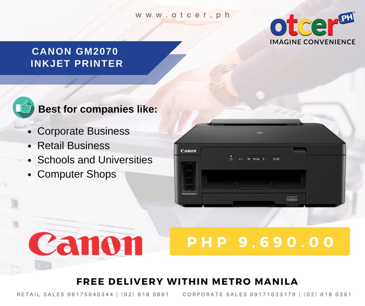 CANON PIXMA GM2070 HIGH VOLUME MONOCHROME INKJET PRINTER  Get yours now by visiting http://www.otcer.ph!   LIKE us on Facebook: https://www.facebook.com/otcerPH/   #otcer #otcerph #retail #B2B #business #startups #innovation #electronics  #imagineconvenience #homeofPhilippineMSMEpic.twitter.com/S7EyhQPV8z