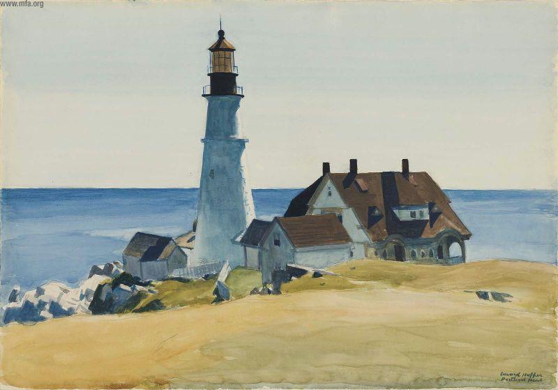 Lighthouse and Buildings, Portland Head, Cape Elizabeth, Maine, 1927 #americanart #hopper