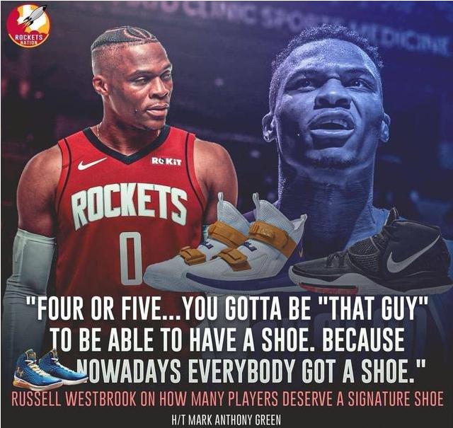 威少:聯盟只有四五個球員配得上自己的簽名鞋,現在是個人都有簽名鞋!-籃球圈