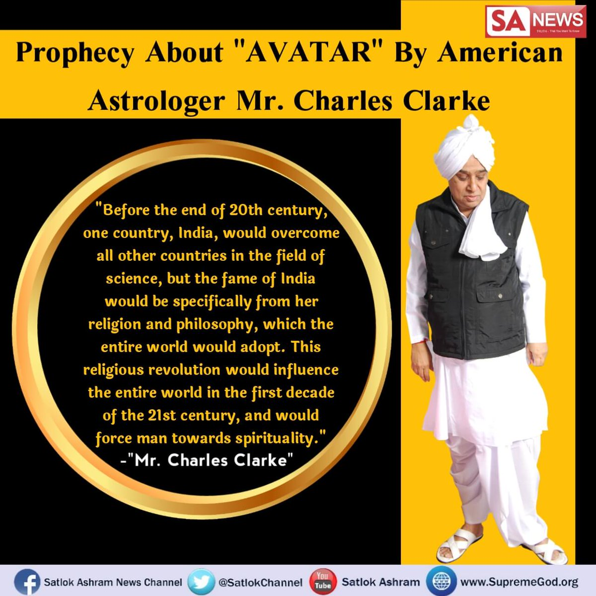 """#GodMorningWednesday #WednesdayWisdom Prophecy about """"AVATAR"""" By American Astrologer Mr. Charles Clarke   For more information watch Sadhna Tv At 7:30pm pic.twitter.com/LociRZik5N"""