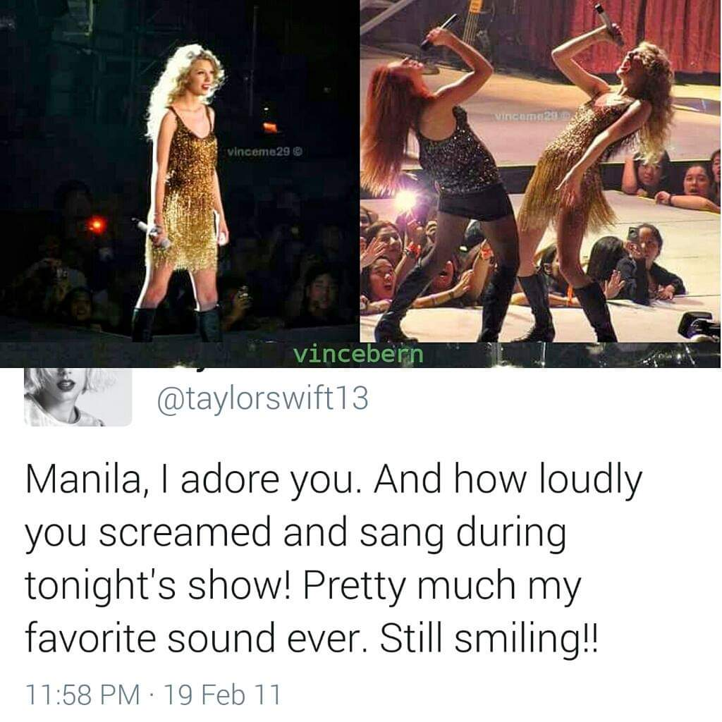 Exactly 9 years ago today, @taylorswift13 performed in Manila for the first time!  Speak Now World Tour in Manila was presented by @ovationprod https://t.co/LUJSASz5pw