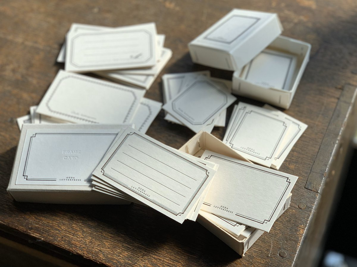 #stickerbox と同じデザインの #framecardbox も @kamihaku2020 in仙台に間に合いそうです◎シール紙とは違う、厚みのあるカードの印刷も是非手にとってご覧いただけると嬉しいです。#紙博in仙台 #大枝活版室pic.twitter.com/d5aNWUR6U3