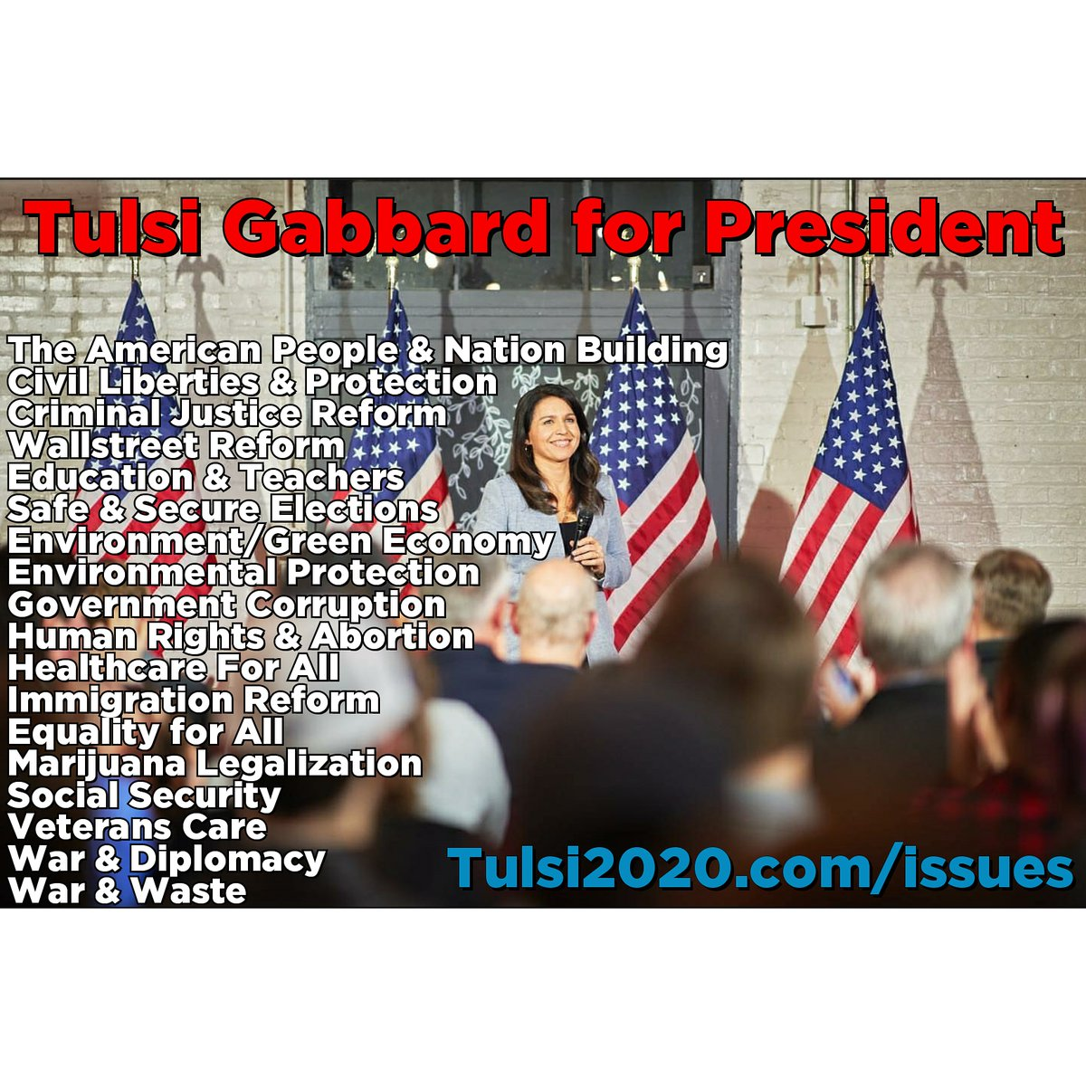 If you want to learn more:  http://Tulsi2020.com/issues http://TulsiGabbard.org https://www.reddit.com/r/tulsi/wiki/positions…  Educate, Participate, Donate!  #Tulsi2020 #AlohaGangpic.twitter.com/gR1Pbt0SyM