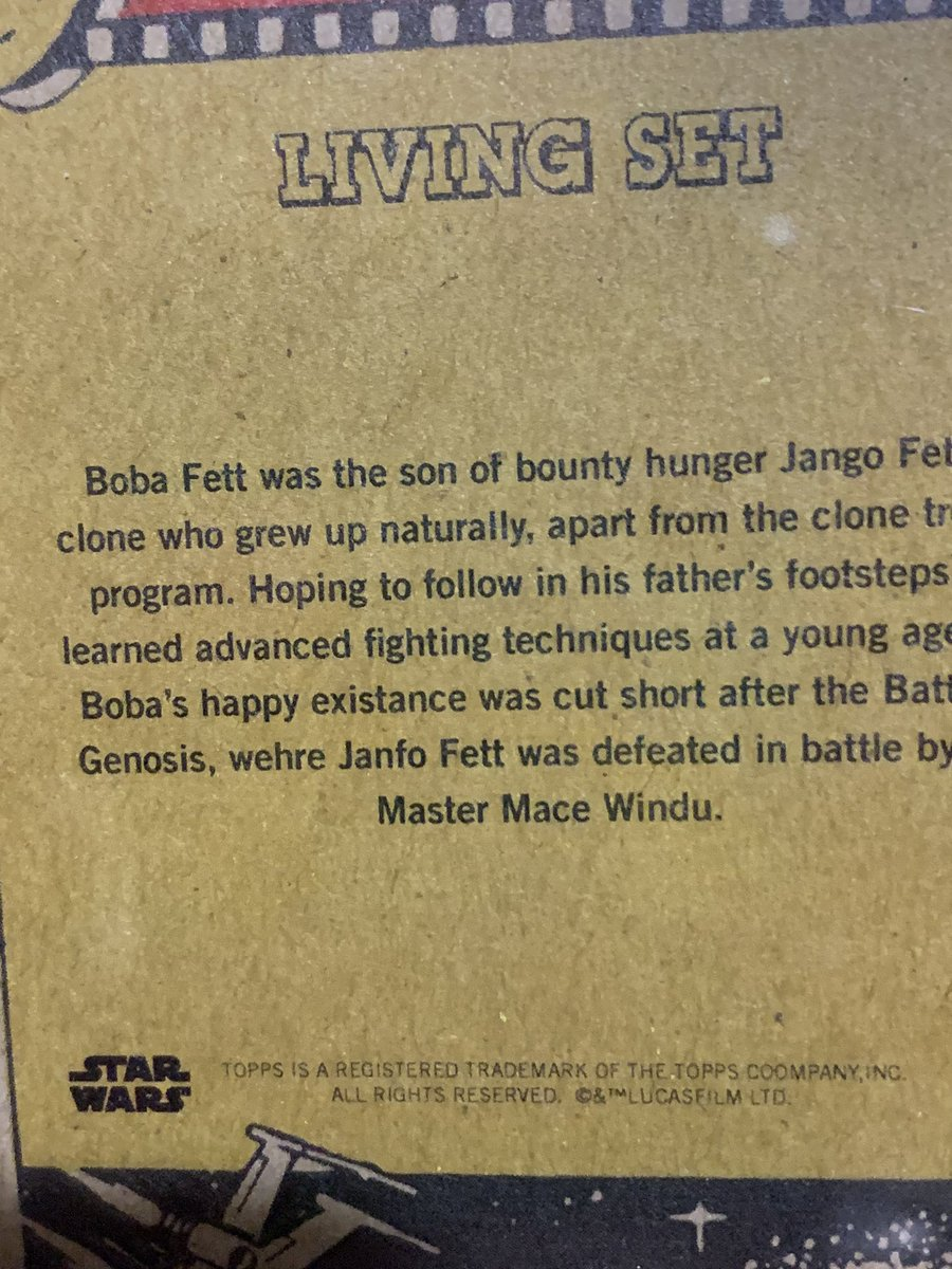 "@ToppsLivingStat not sure who Janfo Fett is and I'm pretty sure ""wehre"" isn't a word. 🤷🏻‍♂️"